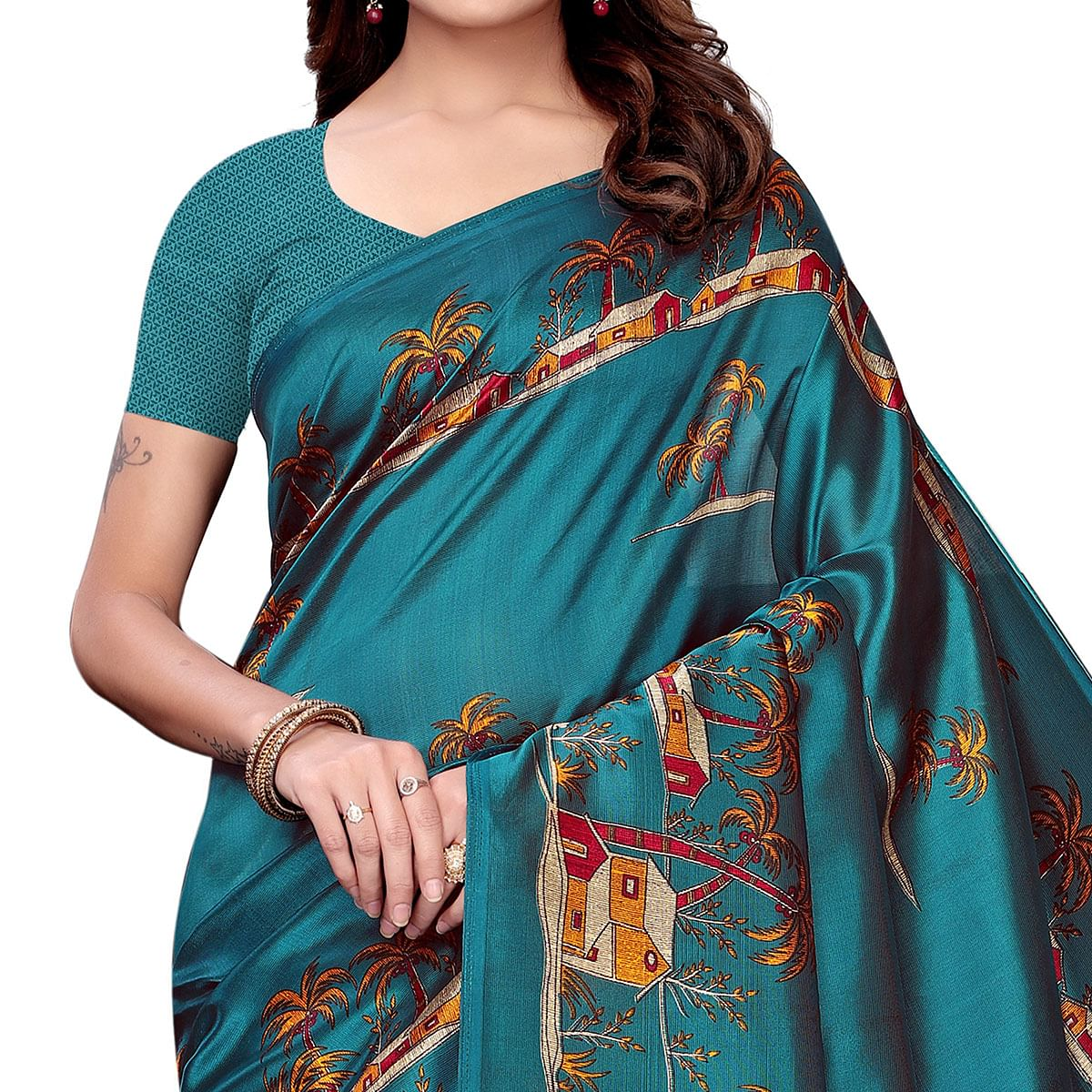 Charming Teal Blue Colored Festive Wear Art Silk Saree