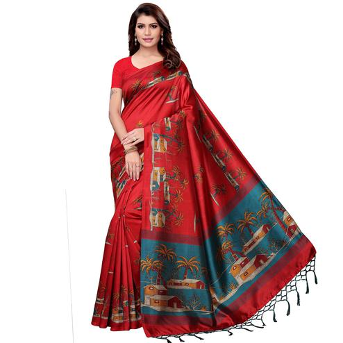 Jazzy Red Colored Festive Wear Art Silk Saree