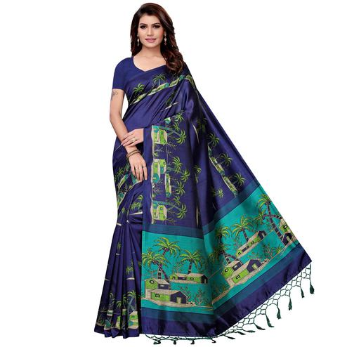 Delightful Navy Blue Colored Festive Wear Art Silk Saree