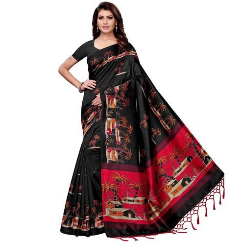 Engrossing Black Colored Festive Wear Art Silk Saree