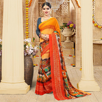 Orange - Grey Casual Wear Saree