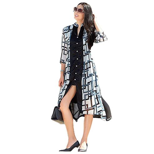 Stylish Black-White Printed Casual Wear Kurti