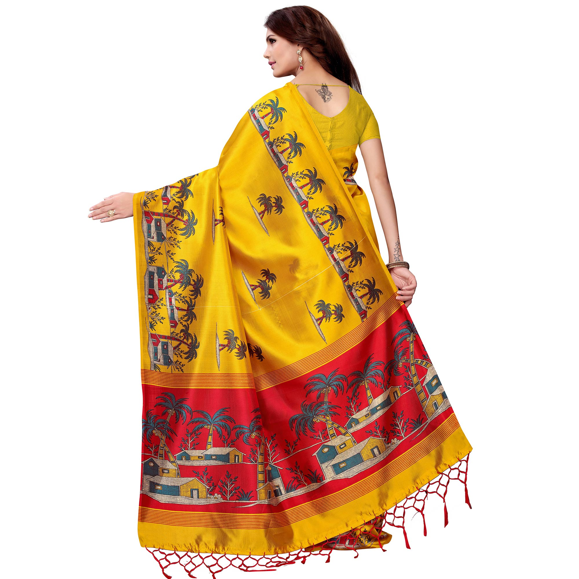 Captivating Yellow Colored Festive Wear Art Silk Saree