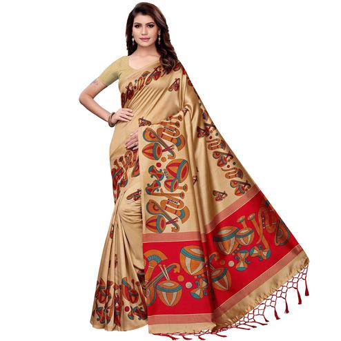Innovative Beige Colored Festive Wear Art Silk Saree