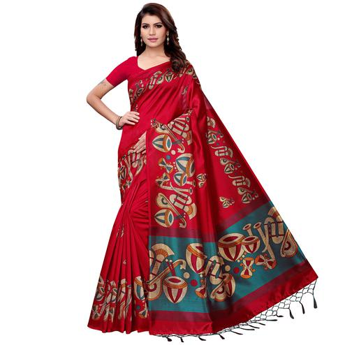 Eye-catching Dark Pink Colored Festive Wear Art Silk Saree