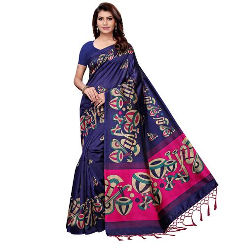 Fantastic Navy Blue Colored Festive Wear Art Silk Saree