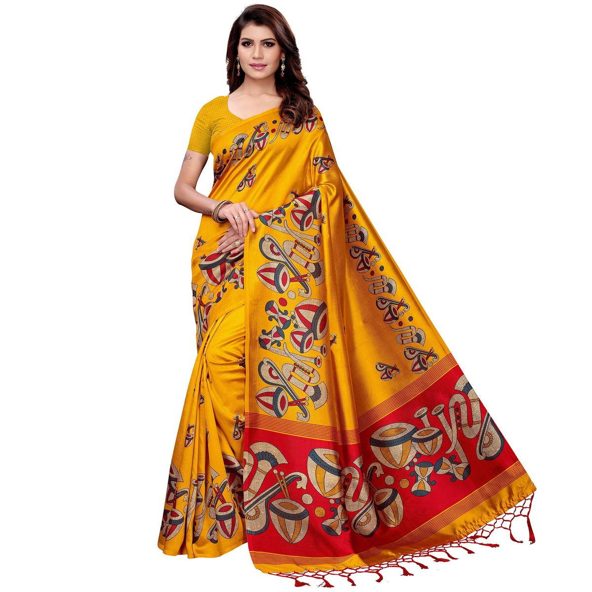 Amazing Mustard Yellow Colored Festive Wear Art Silk Saree