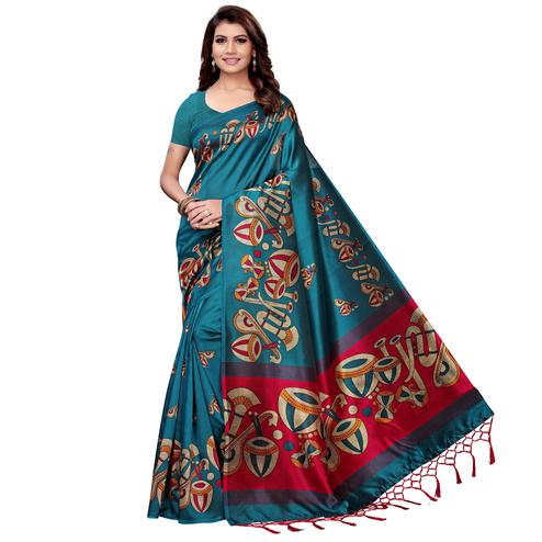Gorgeous Teal Blue Colored Festive Wear Art Silk Saree