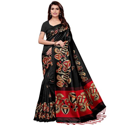 Blissful Black Colored Festive Wear Art Silk Saree