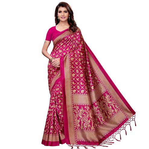 Ideal Pink Colored Festive Wear Art Silk Saree