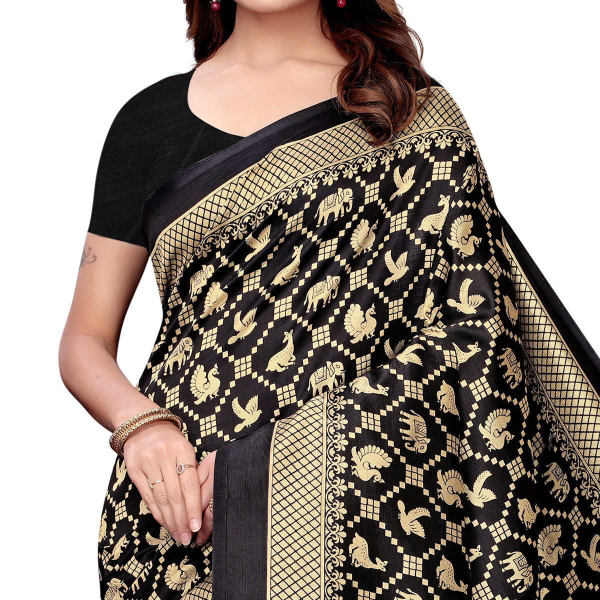 Imposing Black Colored Festive Wear Art Silk Saree