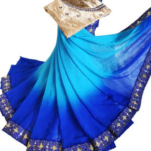 Exotic Blue Colored Party Wear Embroidered Georgette Saree