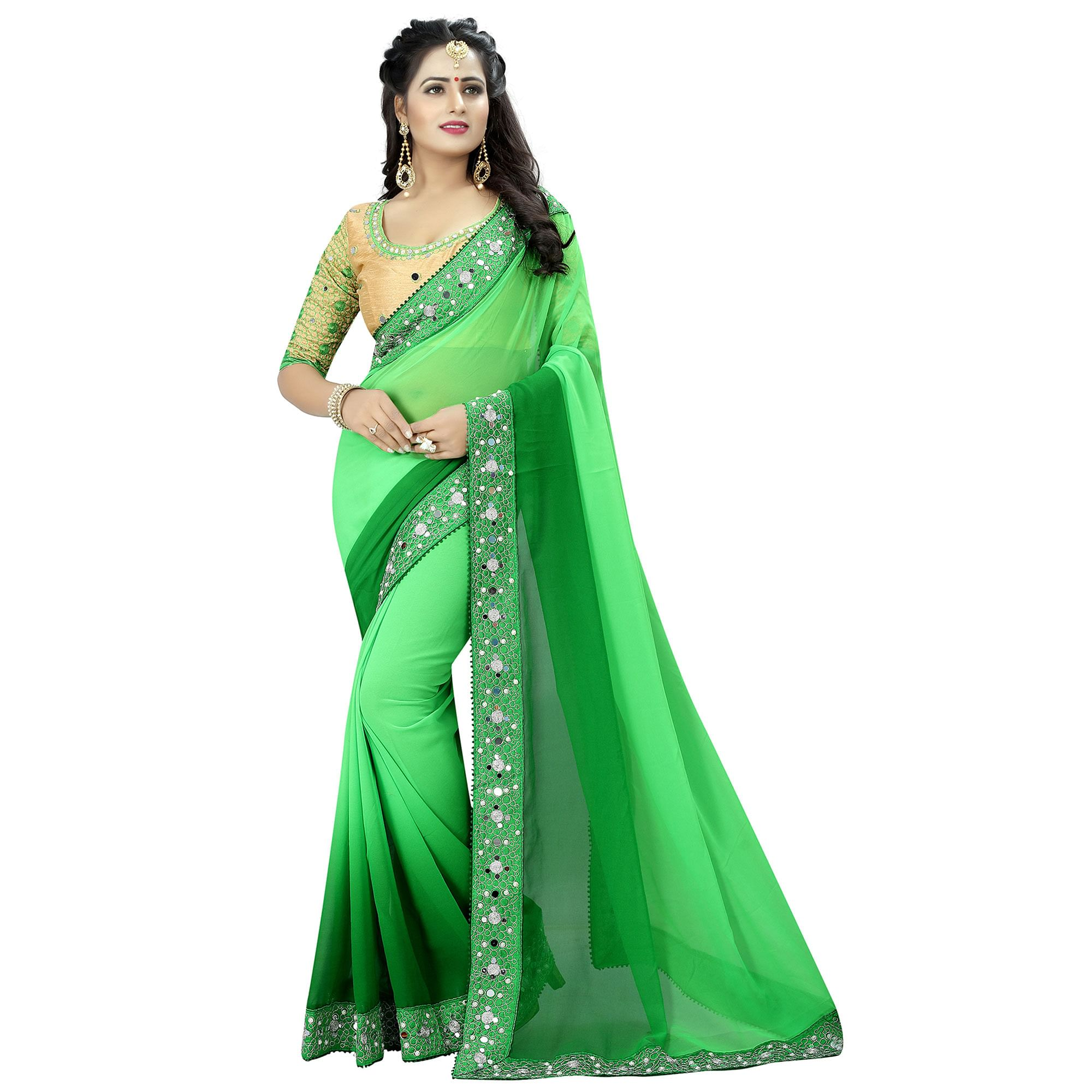 Sophisticated Green Colored Party Wear Embroidered Georgette Saree