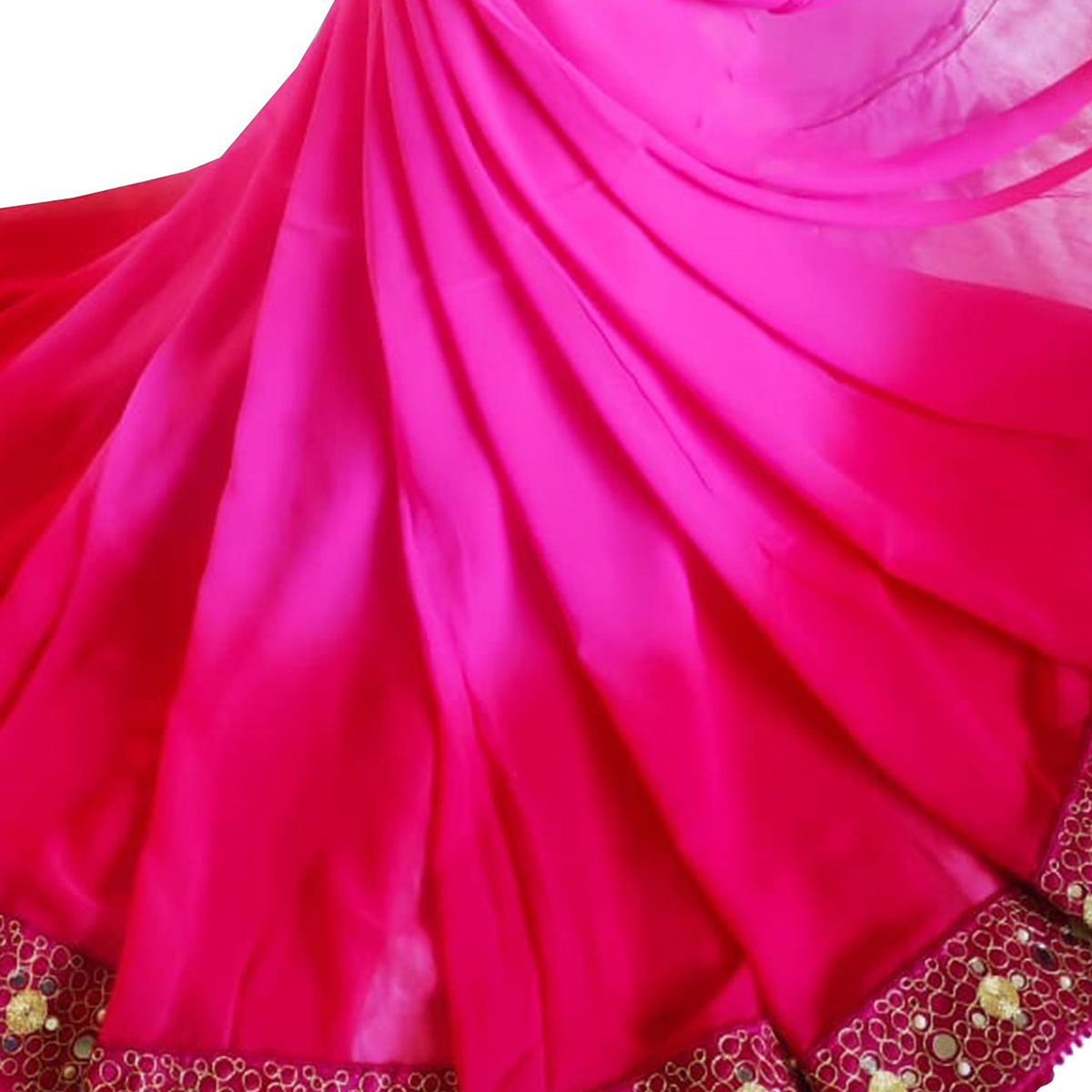 Elegant Pink Colored Party Wear Embroidered Georgette Saree