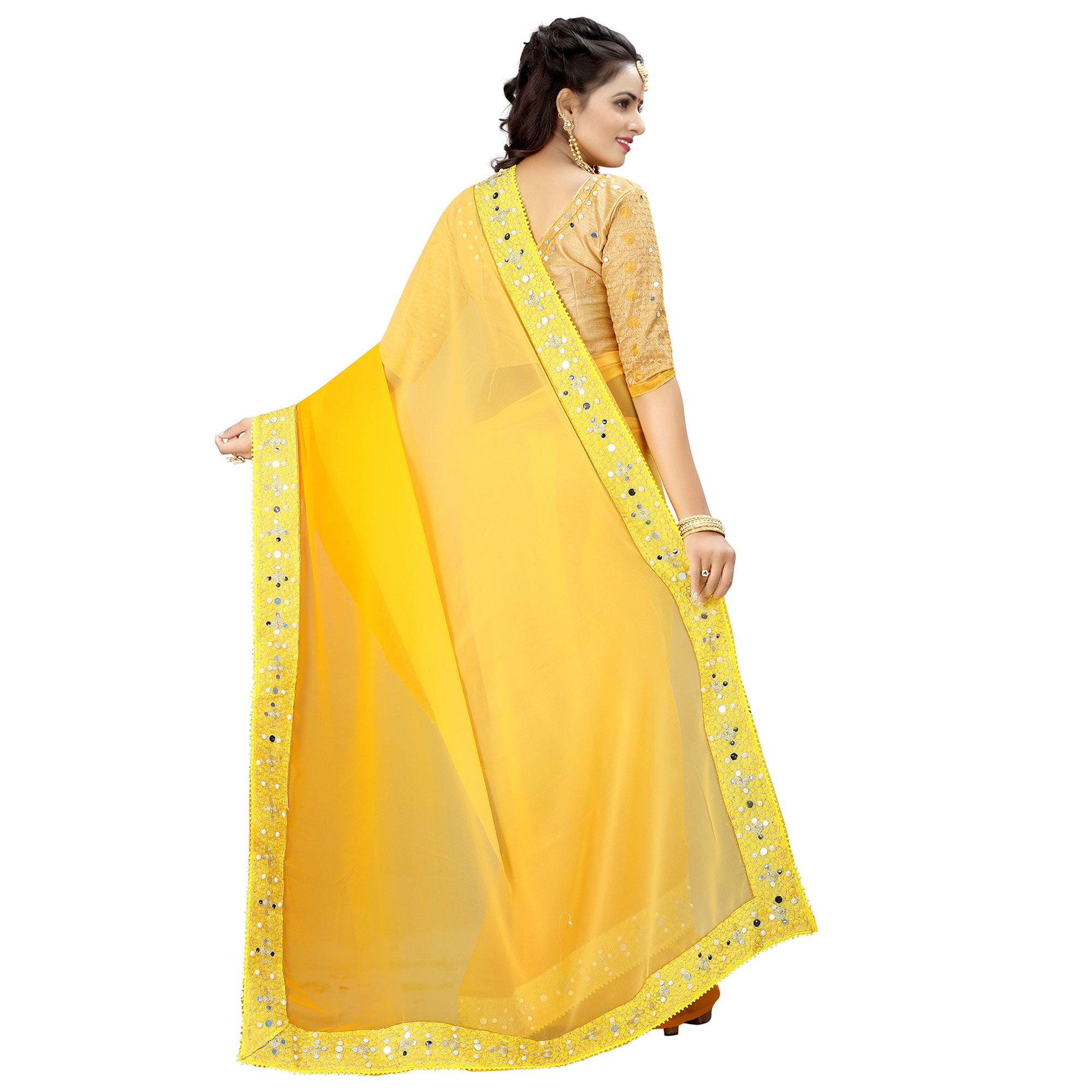 Radiant Yellow Colored Party Wear Embroidered Georgette Saree
