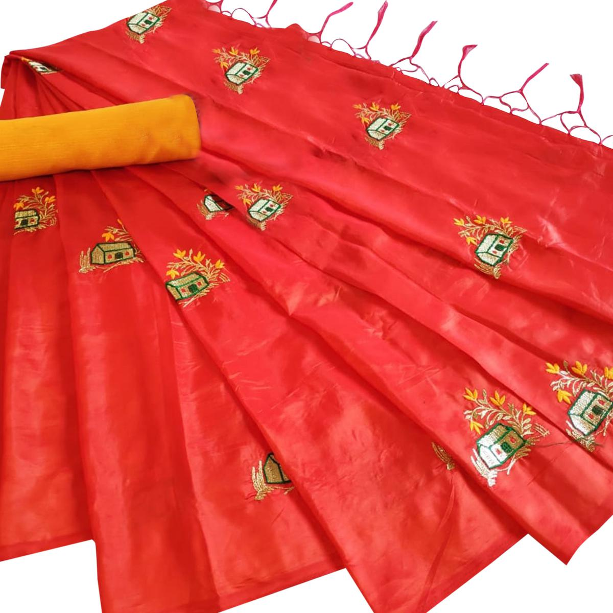 Desirable Orange Colored Party Wear Embroidered Paper Silk Saree