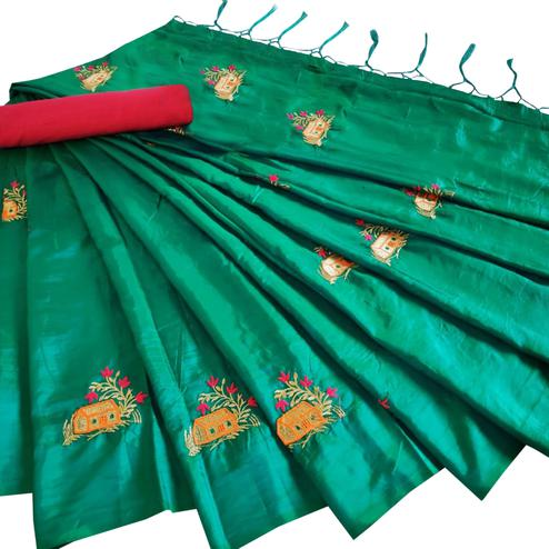 Exotic Turquoise Green Colored Party Wear Embroidered Paper Silk Saree