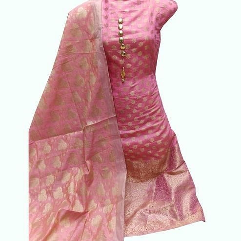 Gleaming Pink Colored Festive Wear Woven Banarasi Silk Dress Material