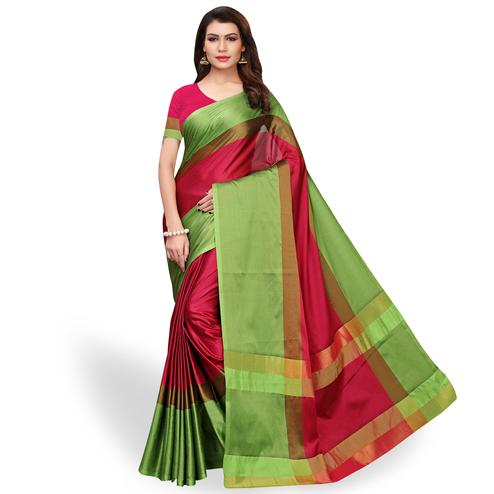 Demanding Pink - Green Colored Festive Wear Art Silk Saree