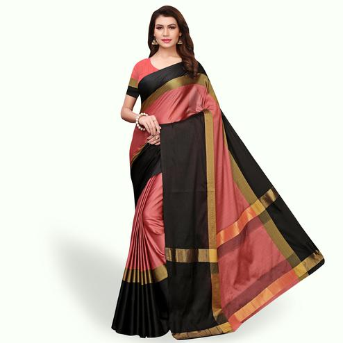 Magnetic Pink - Black Colored Festive Wear Art Silk Saree
