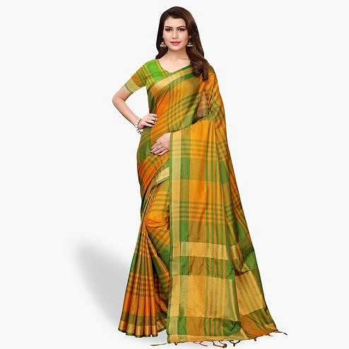Flamboyant Green - Yellow Colored Festive Wear Art Silk Saree