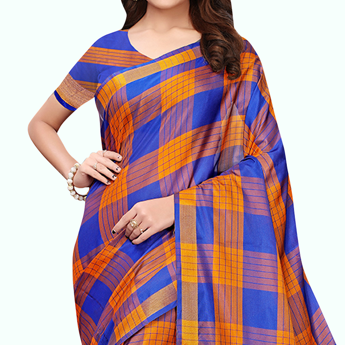 Flaunt Blue - Orange Colored Festive Wear Art Silk Saree