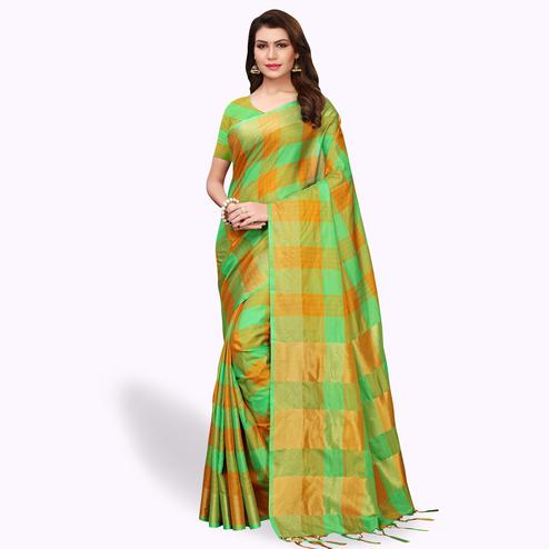 Flirty Green Colored Festive Wear Art Silk Saree