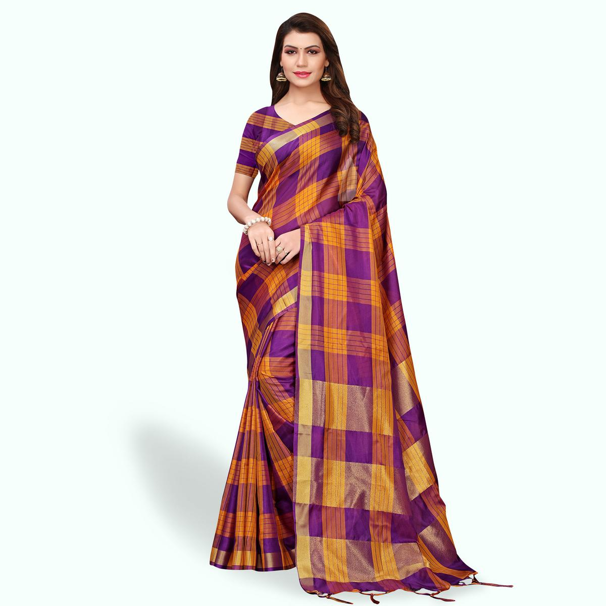 Classy Purple Colored Festive Wear Art Silk Saree