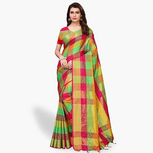 Prominent Green - Multi Colored Festive Wear Art Silk Saree