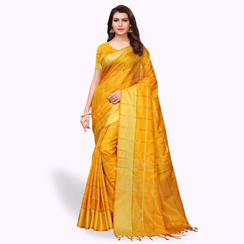 Pleasant Yellow Colored Festive Wear Art Silk Saree