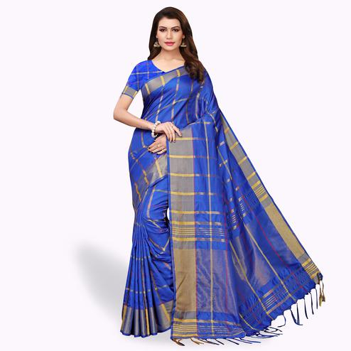 Opulent Blue Colored Festive Wear Art Silk Saree