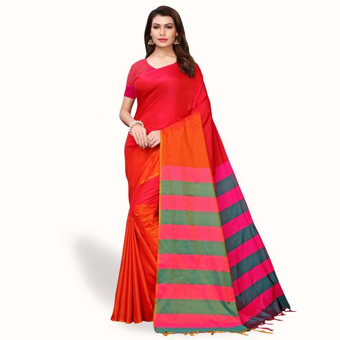 Unique Red Colored Festive Wear Art Silk Saree