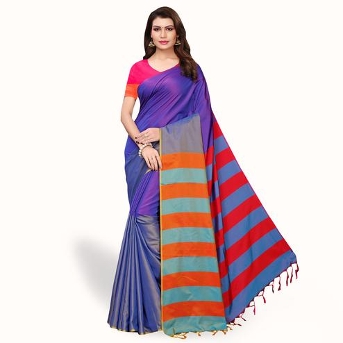 Demanding Purple Colored Festive Wear Art Silk Saree
