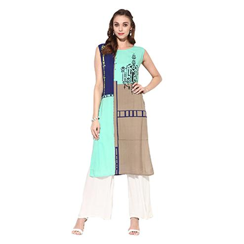 Green Printed Casual Wear American Crape Kurti