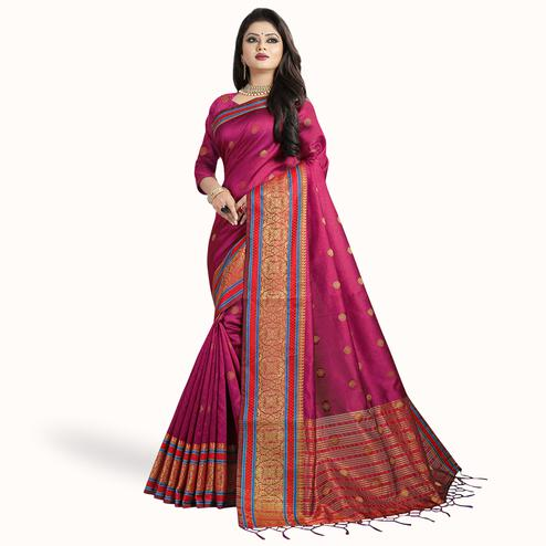 Radiant Pink Colored Festive Wear Woven Cotton Silk Saree