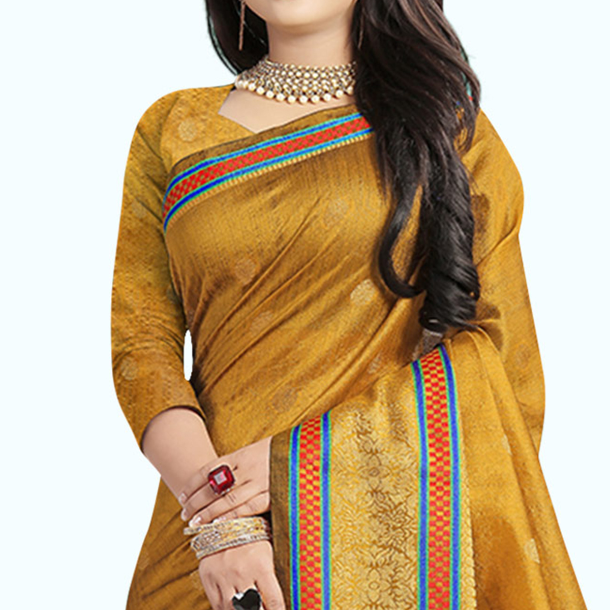 Opulent Mustard Yellow Colored Festive Wear Woven Cotton Silk Saree