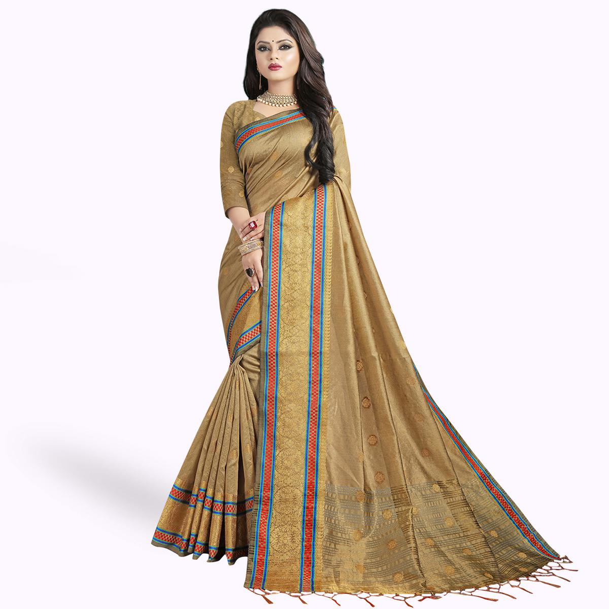 Amazing Beige Colored Festive Wear Woven Cotton Silk Saree