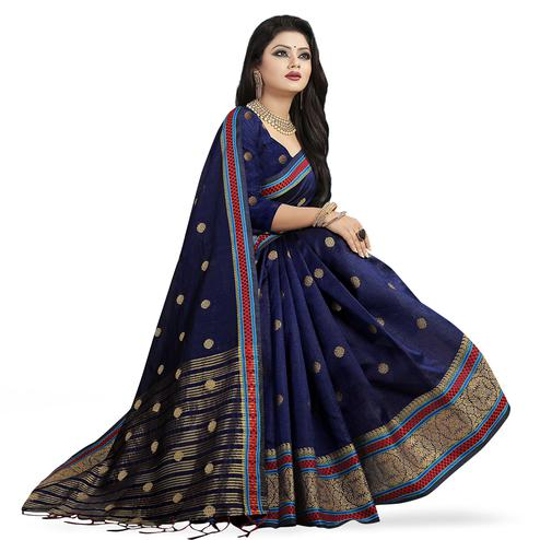 Exceptional Navy Blue Colored Festive Wear Woven Cotton Silk Saree