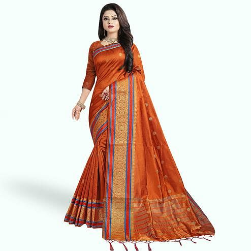 Gleaming Rust Orange Colored Festive Wear Woven Cotton Silk Saree