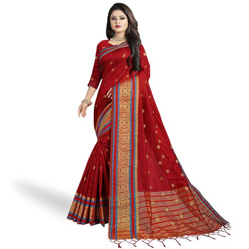 Unique Red Colored Festive Wear Woven Cotton Silk Saree