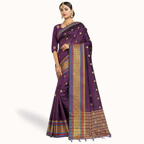 Demanding Purple Colored Festive Wear Woven Cotton Silk Saree