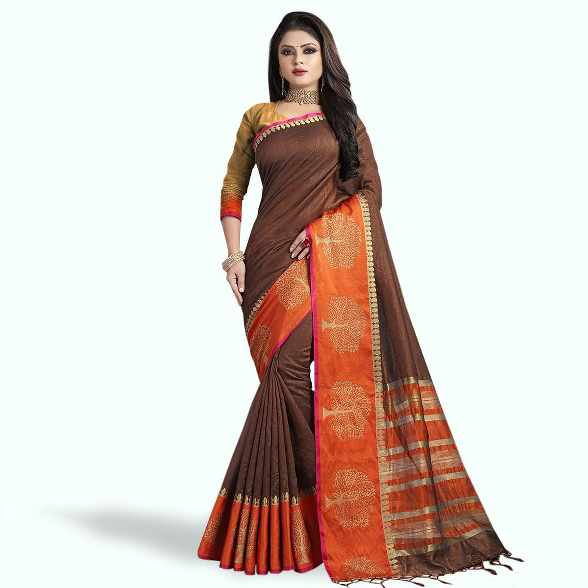 Engrossing Brown Colored Festive Wear Cotton Silk Saree