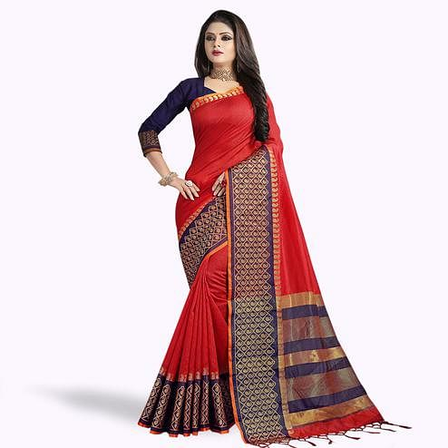 Innovative Red Colored Festive Wear Cotton Silk Saree