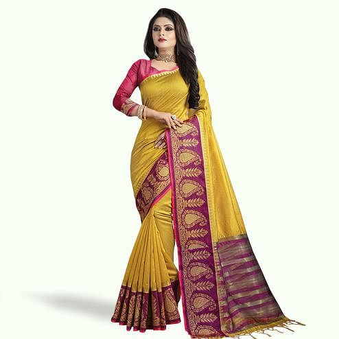 Eye-catching Golden Yellow Colored Festive Wear Cotton Silk Saree