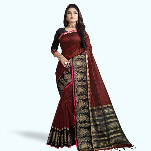 Fantastic Maroon Colored Festive Wear Cotton Silk Saree