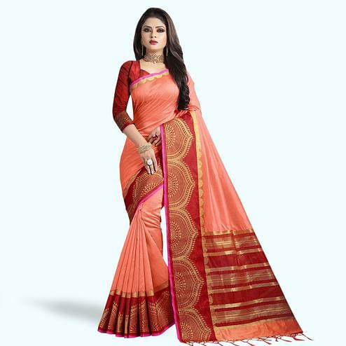 Amazing Peach Colored Festive Wear Cotton Silk Saree