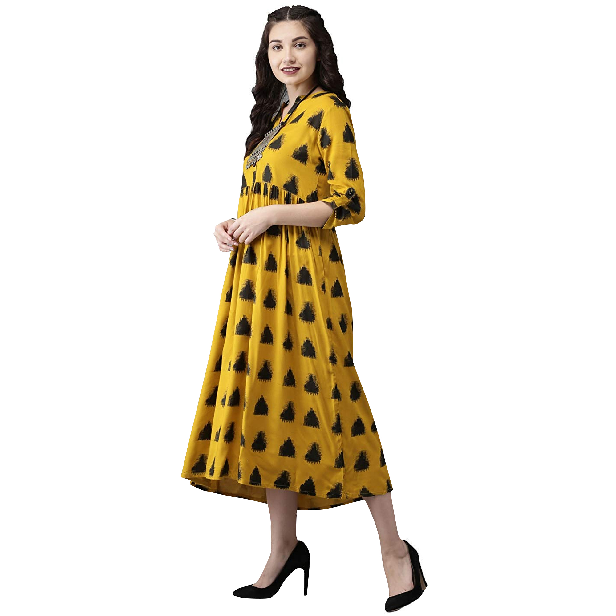 Opulent Mustard Yellow Colored Casual Printed Rayon Kurti