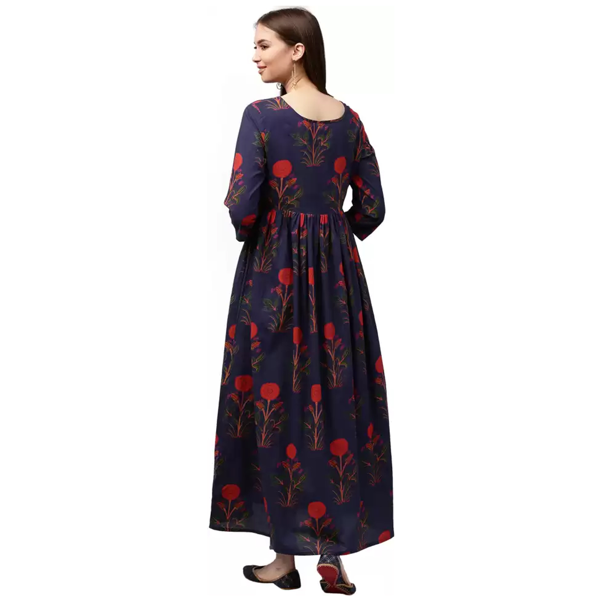 Amazing Navy Blue Colored Casual Printed Cotton Kurti