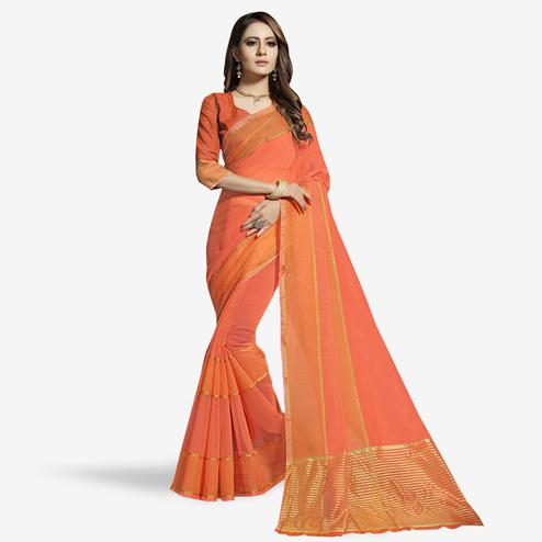 Glorious Peach Colored Festive Wear Woven Chanderi Silk Saree