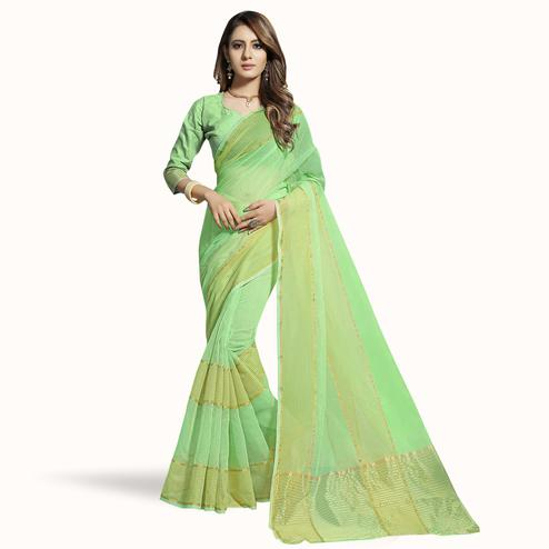 Attractive Green Colored Festive Wear Woven Chanderi Silk Saree